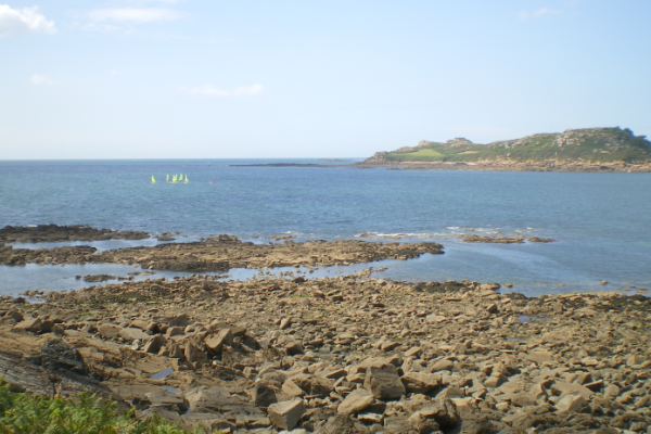 Coastline from Britanny, with, rocks, blue sea and blue sky