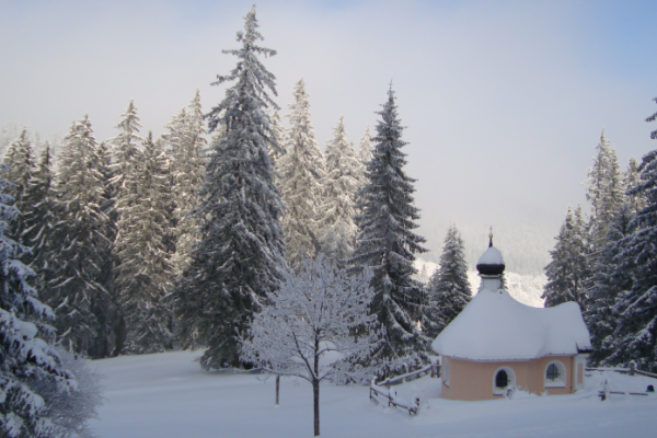 small chapel under the snow with trees illustrating the article about main csr/sustainability trends in 2016