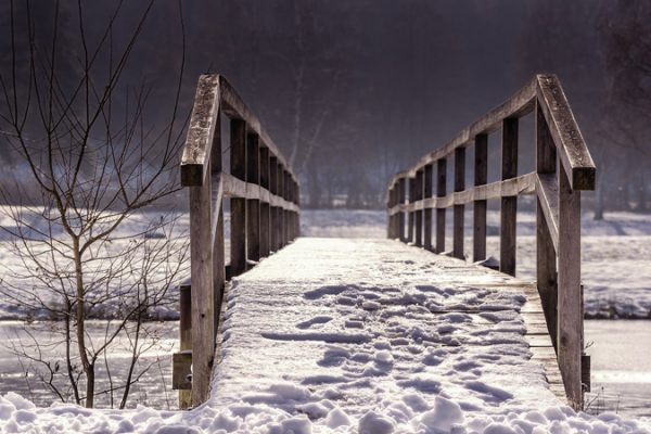 Snowy wooden bridge over mountain stream for the CFO Taskforce on SDGs - blog post