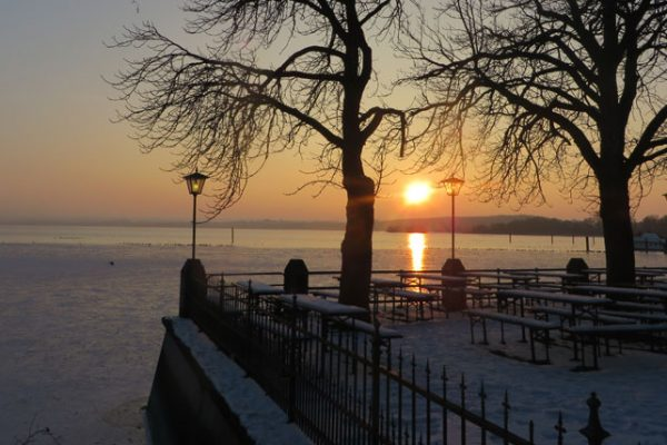 lake view of a sunset in winter illustrating the article about the TCFD standard